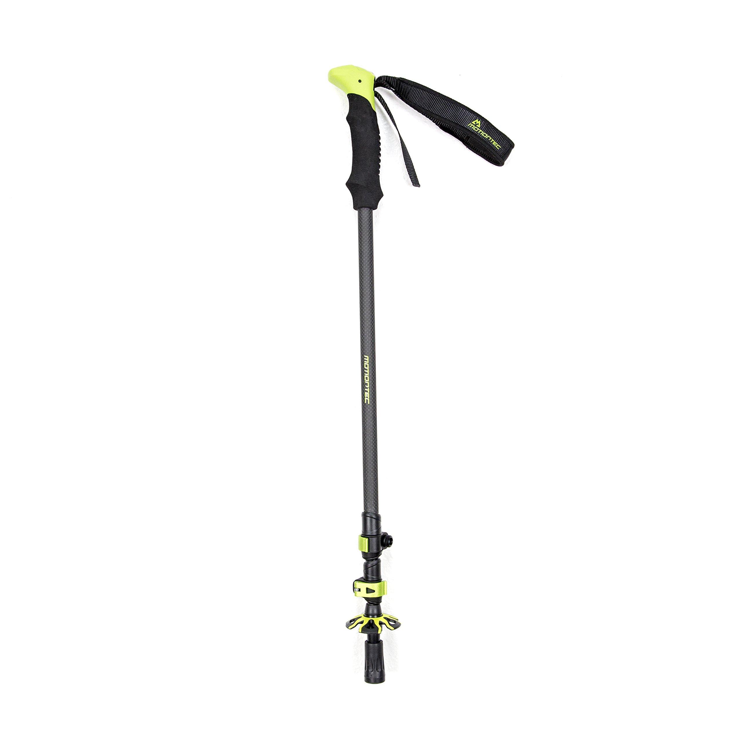 Motiontec Carbon Fiber Trekking Poles, Graphite/Lime, One Size by Motiontec