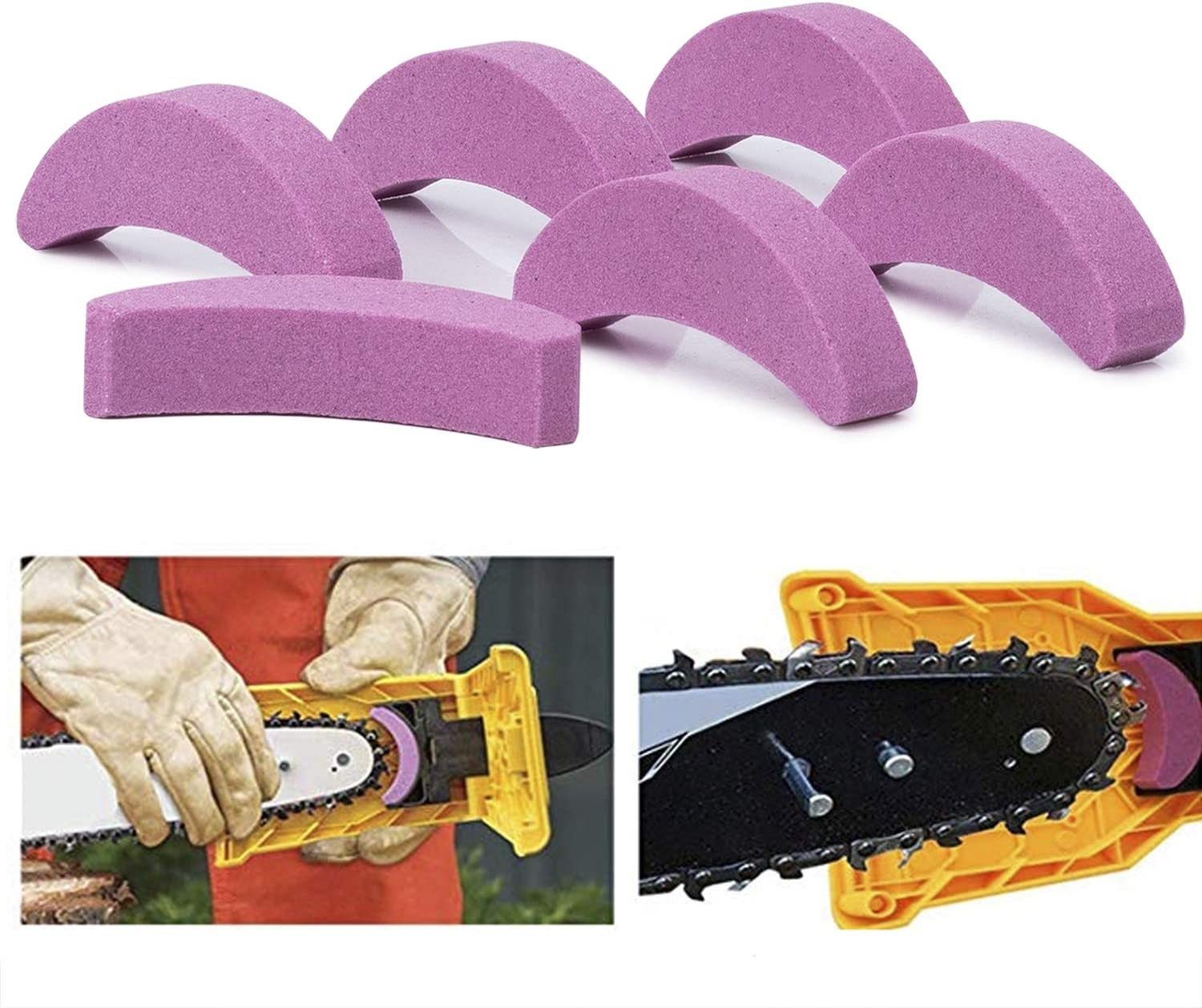 Sharpening Stone Whetstone Replacement for Chainsaw Teeth Sharpener Bar-Mount Chainsaw Chain Sharpening System 6Pcs