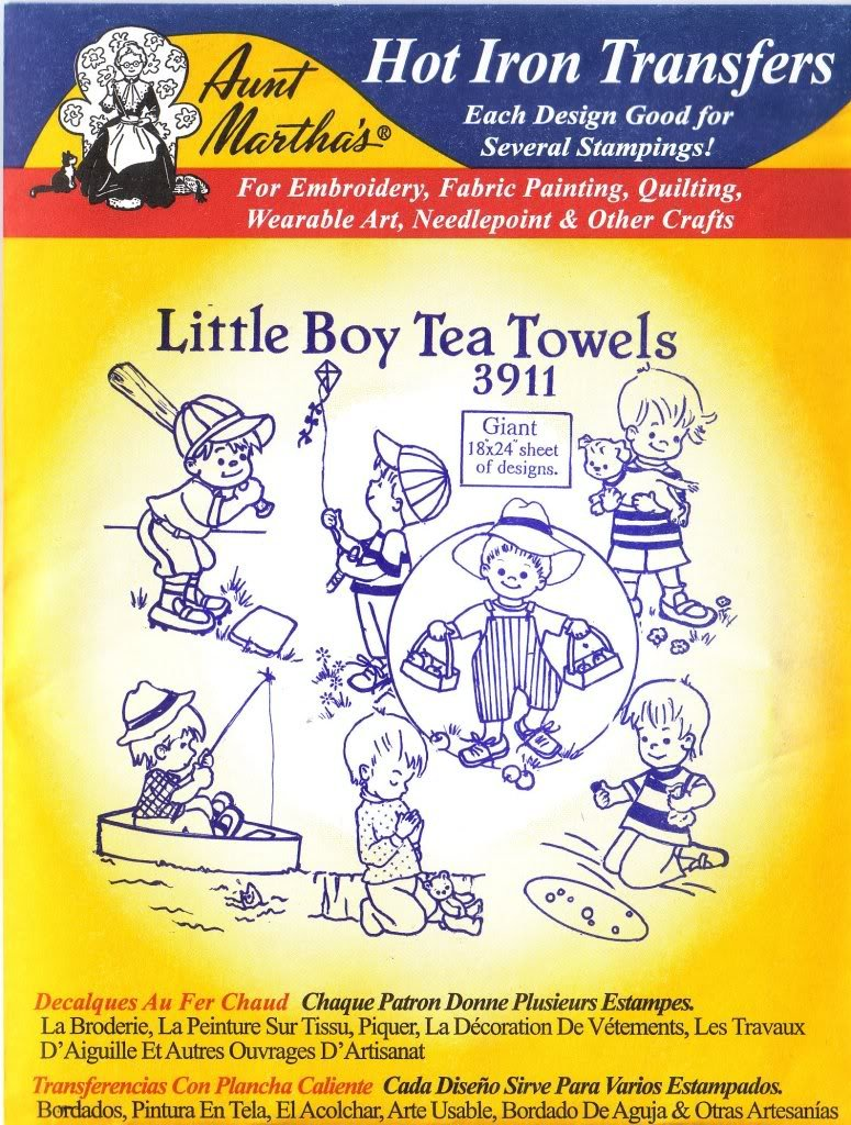Amazon.com: Little Boy Tea Towels Aunt Martha\'s Hot Iron Embroidery ...