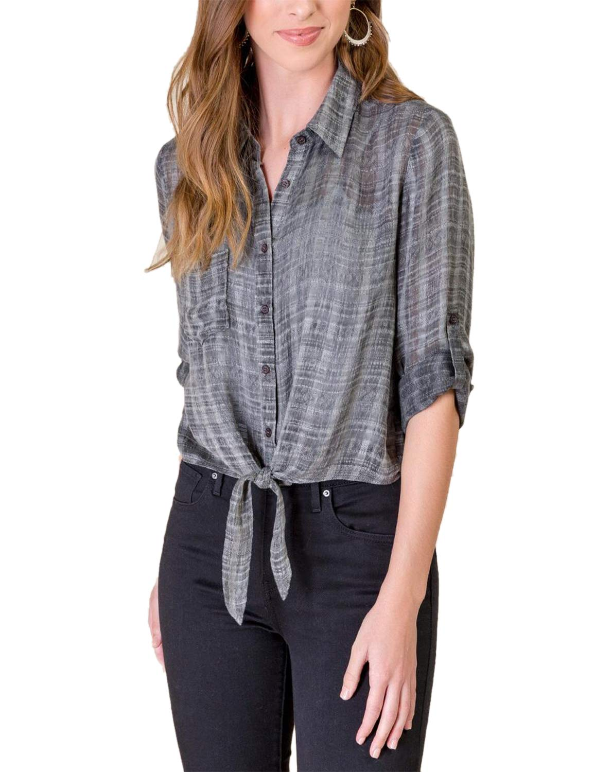 Blooming Jelly Women's Button Down Shirt Tie Knotted Top with Pocket Grey