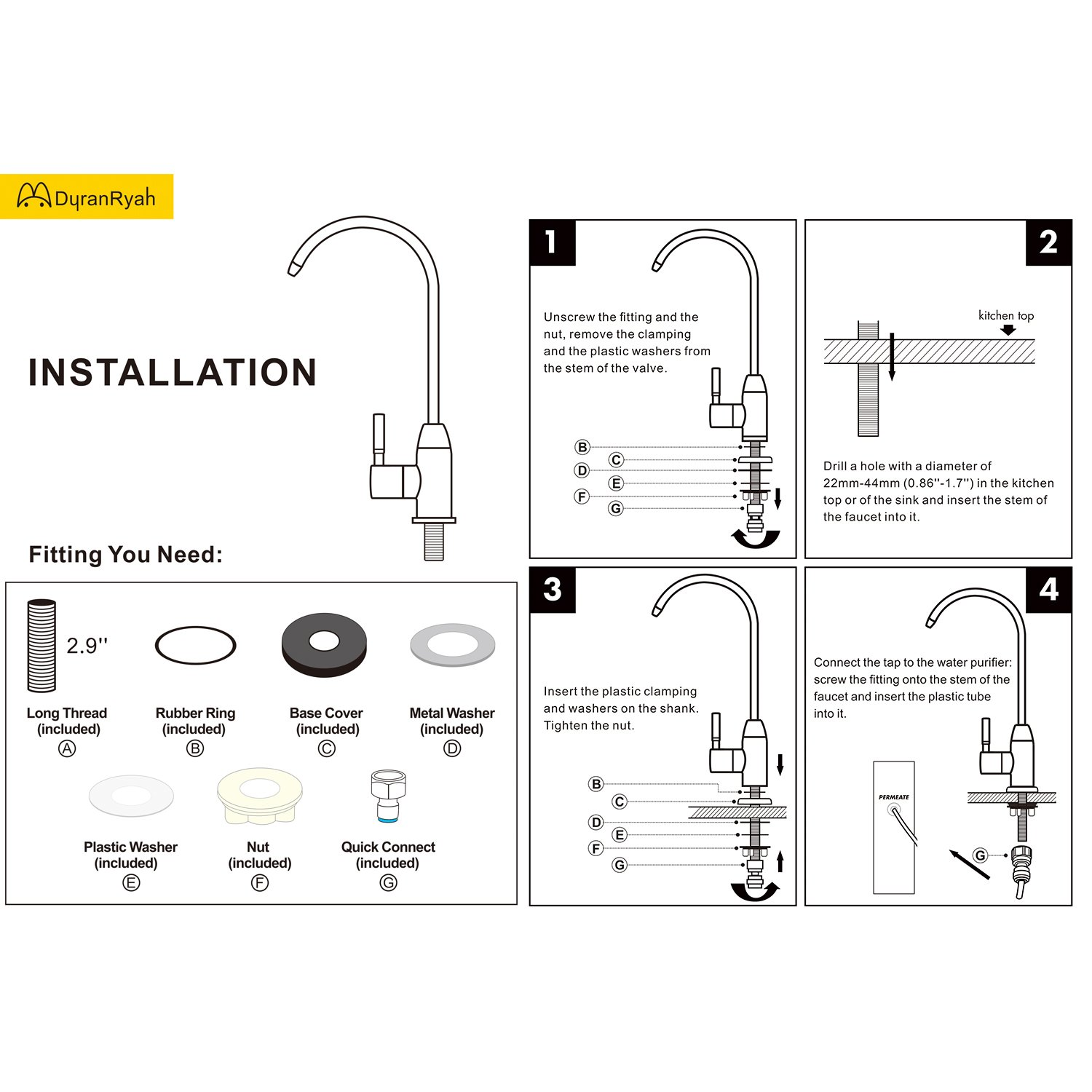 DuranRyan RO Drinking Water SUS304 Stainless Steel Faucet for RO Reverse Osmosis & Filter with Matte Black Finish by DuranRyan (Image #9)