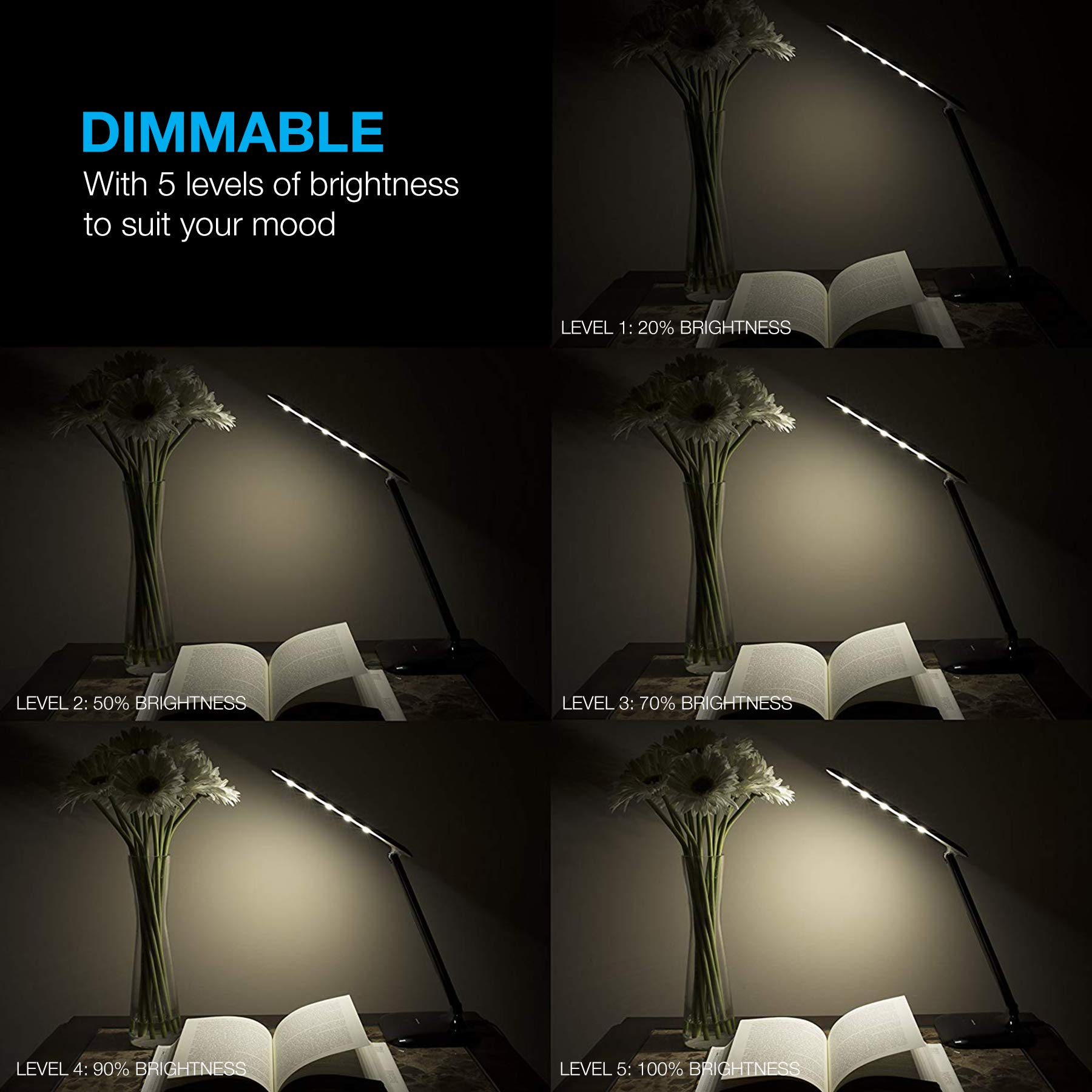 Vont Dimmable LED Desk Lamp - Elegant, Modern and Adjustable - 3 Colors - 5 Brightness Levels - Reading, Studying & Relaxation Modes -Environmentally Friendly - Black by Vont (Image #5)