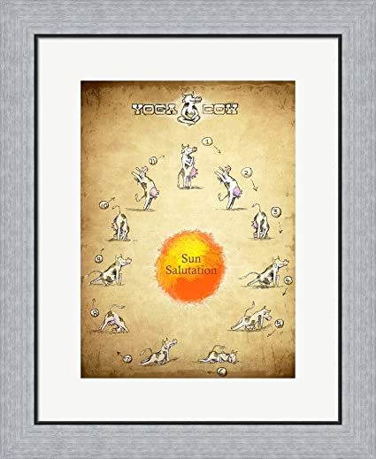 Amazon.com: Yoga Cow Sun Salutation Framed Art Print Wall Picture ...