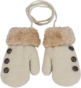 Infant Baby Boys Girls Winter Warm Knitted Gloves Fleece Lining Mittens with String (Beige Button)