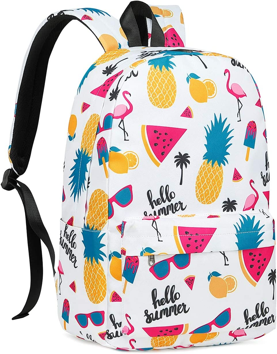 Backpack for Girls,BTOOP School backpacks Pineapple Bookbag fit 15 inch Laptop Kids Casual Daypack (White - Flamingo Pineapple)