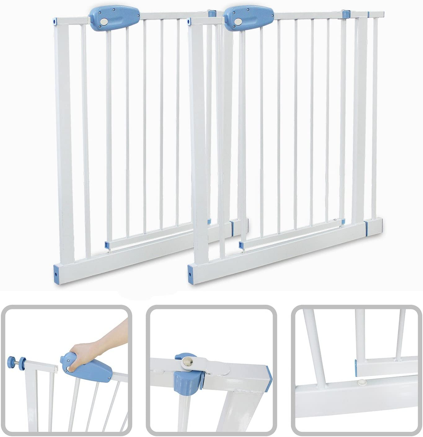 Adjustable Door Gate Width: 74-87 cm Todeco Height: 74 cm Baby Safety Gate 74 to 87cm White 29.1 to 34.2 inch