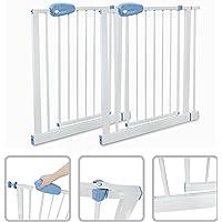 Todeco - Barrière de Sécurité pour Bébé, Barrière Ajustable pour Porte - Largeur: 74-87 cm - Hauteur: 74 cm - 74 to 87cm, Blanc, Pack de 2