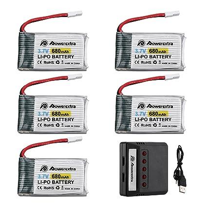 Powerextra 5 pcs 3.7 V Batería de Lipo con 5 en 1 Cargador de ...