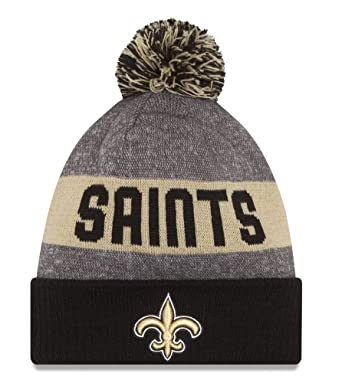 Amazon.com  New Era NFL Sideline Bobble Beanie One Size New Orleans ... 3d6b77706db