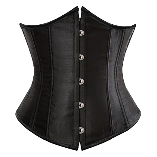 9f35aac92 Kranchungel Women s Vintage Satin Underbust Corset Bustier Waist Cincher  Bodyshaper Small Black