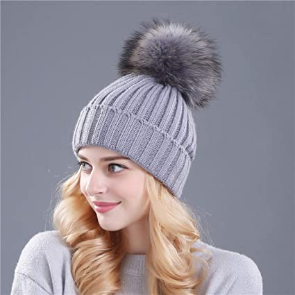 102e3ba382606 Image Unavailable. Image not available for. Color  Myhome99 Mink and Fox  Fur Ball Cap pom poms Winter hat for Women Girl  s