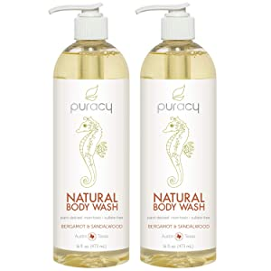 Puracy Natural Shower Gel, Bergamot & Sandalwood, Body Wash for Men and Women, 16 Ounce (2-Pack)