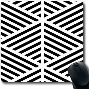 Jamron Mousepad Oblong 7.9x9.8 Inches Blocks Slash Black Diagonal Lines for Mexican Sheet On White Abstract Angles Asymmetrical Textures Non-Slip Rubber Mouse Pad Office Computer Laptop Games Mat