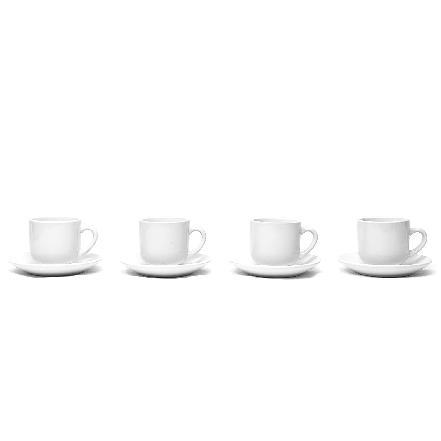 Set of 4 4 ounce Espresso Cups with Saucers by Bruntmor White Ceramic