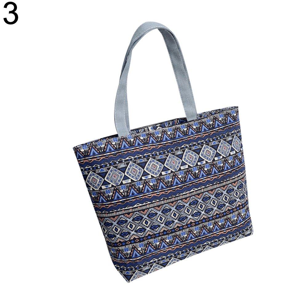Bangle009 The Latest Women Canvas Stripe Tote Bag Shopping Travel Large Capacity Shoulder Handbag 1#