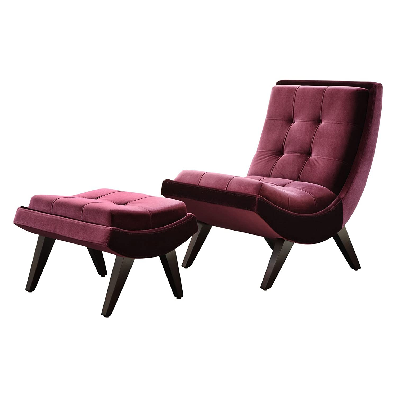Amazon Chelsea Lane Lashay Velvet Lounge Chair & Ottoman