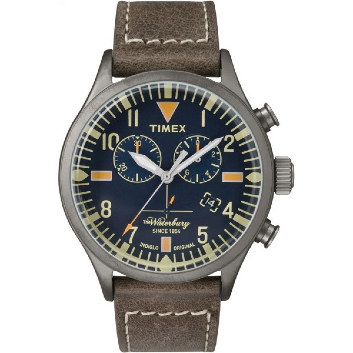 Timex Originals TW2P84100 Mens Waterbury Brown Leather Strap Chronograph Watch by Timex