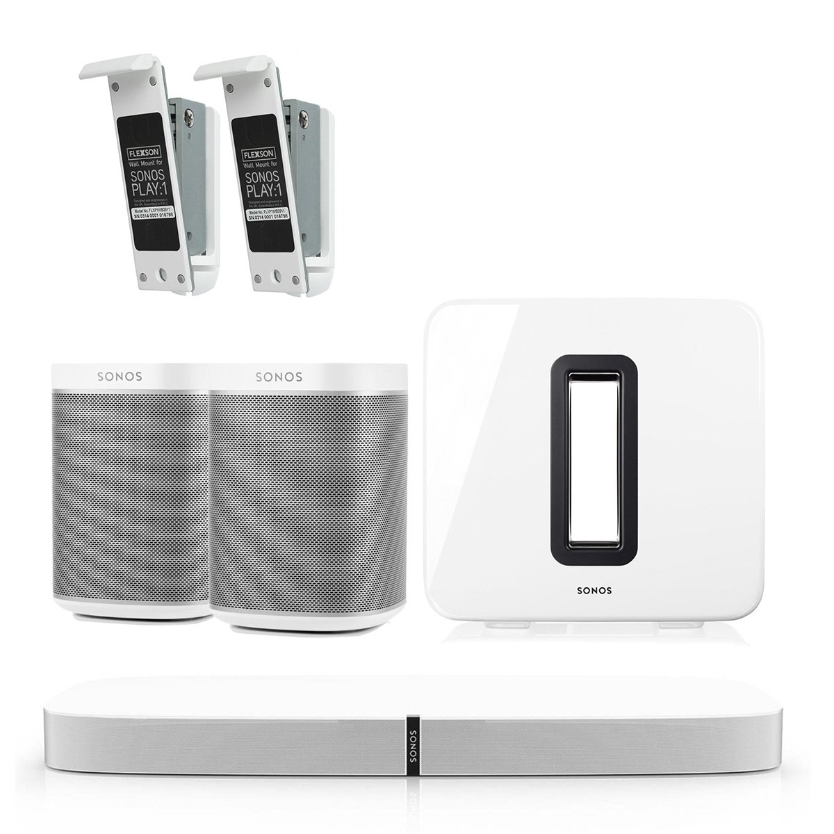 Sonos 5.1 PLAY Home Theater Digital Music System with Flexson Wall Mounts for PLAY:1 (White) by Sonos