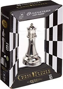BePuzzled Hanayama Metal Cast Queen Chesspiece Puzzle Find Lucky Coins, Advanced Challenging Brain Teaser Game for Kids Age 8 & Above (Level 3)