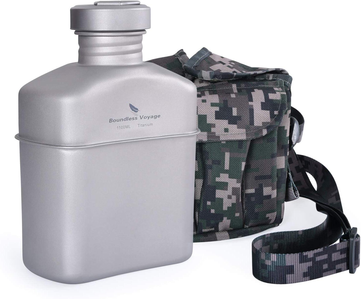 Boundless Voyage Cantimplora militar de titanio con bolsas de camuflaje de gran capacidad en forma de riñón y cacerola con tapa y cadena para colgar