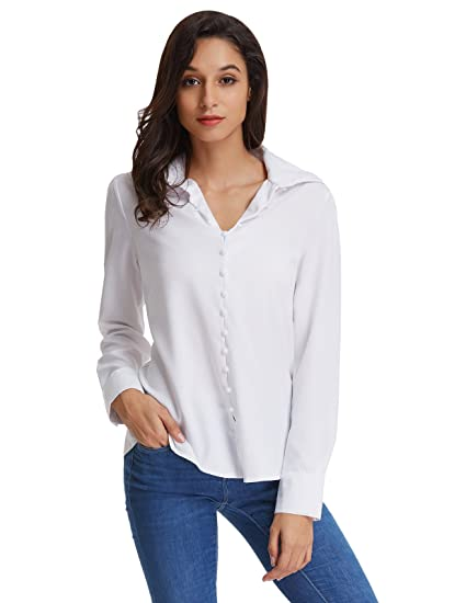864980580 GRACE KARIN Ladies Solid Long Sleeve Chiffon Blouse Top Size XL White