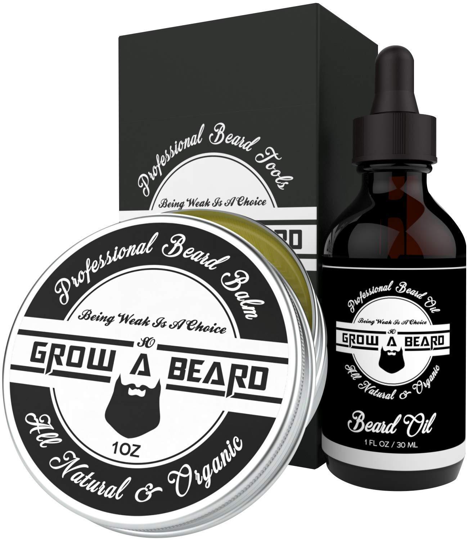 Beard Balm & Oil Grooming Kit | Sandalwood Scent Beard Balm Leave-in Conditioner & Softener for Men Care | Unscented Beard Oil Great for Smooth & Moisturize | Natural & Organic w/ Argan & Jojoba Oils