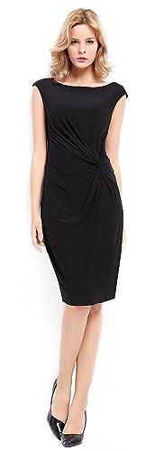 BI.TENCON Women's Boat Neck Cap-Sleeve Side Knot Party Pencil Dress