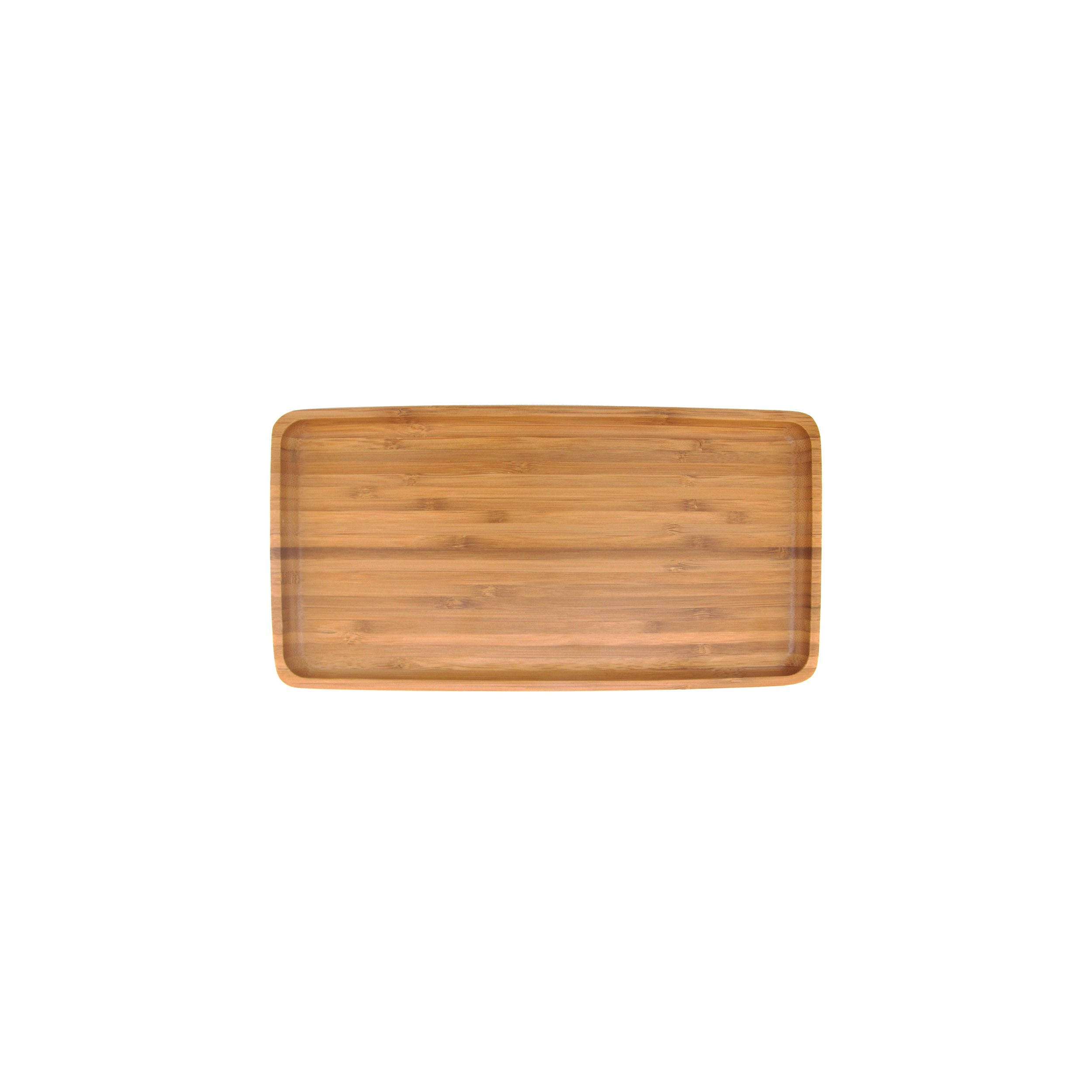 Organic Bamboo Tea Serving Tray - Rounded Edges - 11''x5.5''x0.6'' - 10 Pieces