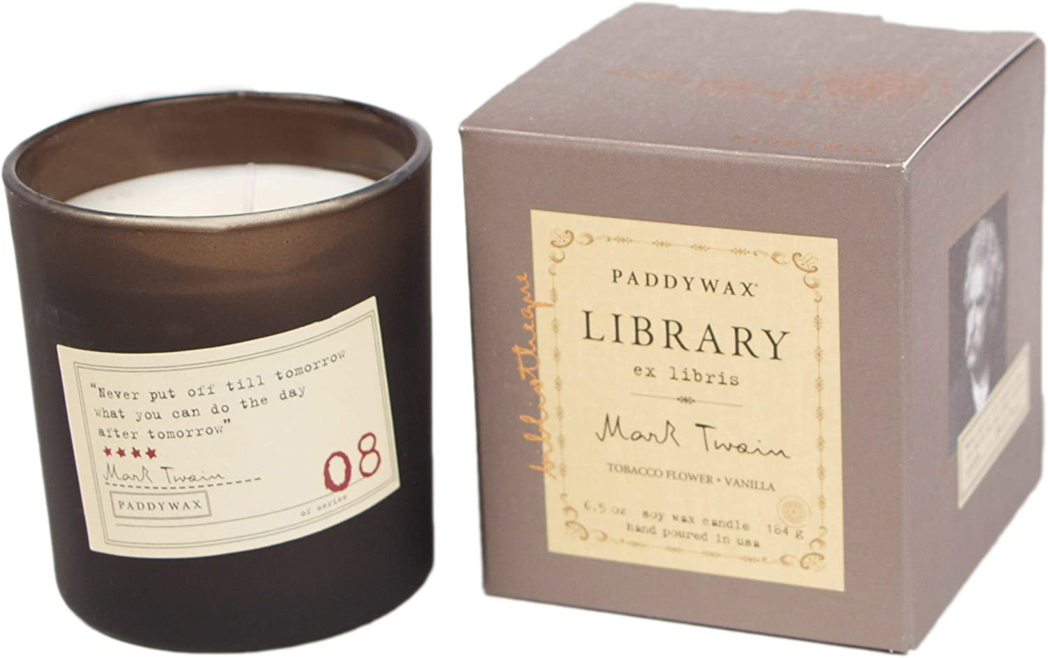 Paddywax Candles GL08Z Paddywax Library Collection Mark Twain Scented Soy Wax Candle, 6.5-Ounce, Tobacco Flowers & Vanilla