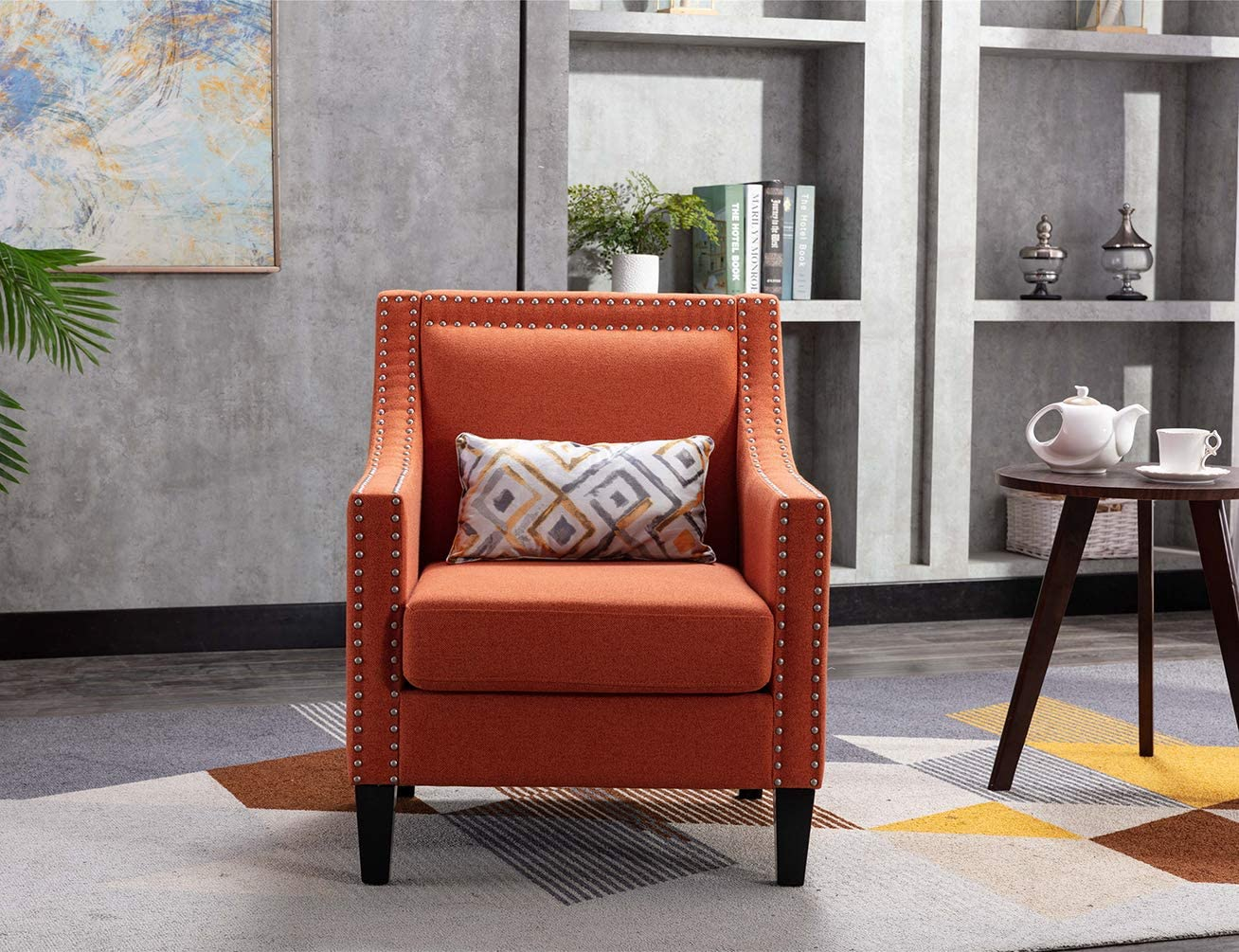 Accent Chair with Small Pillow, Mid Century Armchair with Decorative Nailheads and Solid Wooden Legs, Modern Chairs for Living Room and Bedroom, Orange