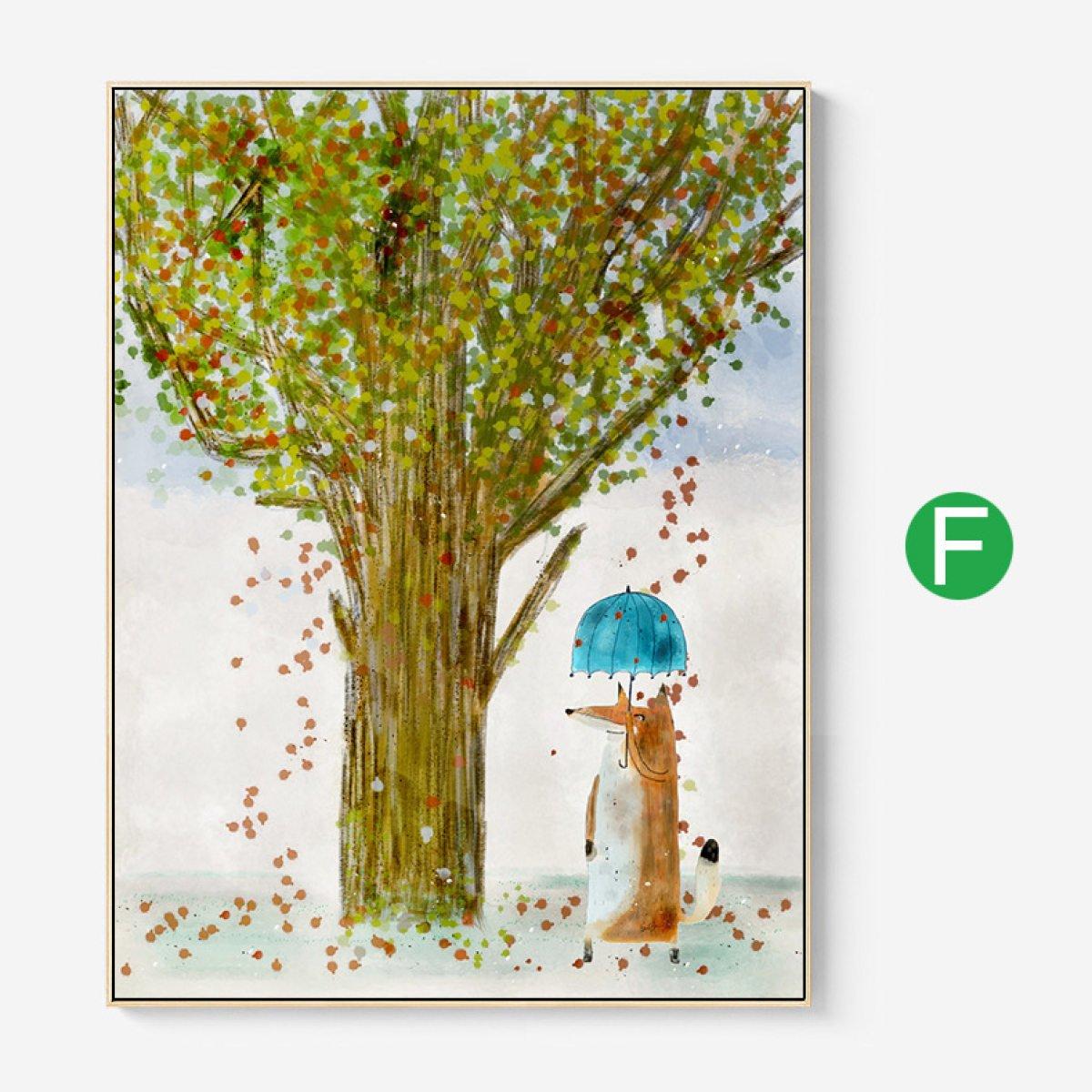 36214 フォトフレームコラージュ写真壁の装飾絵画壁吊り北欧漫画動物の風景居間ソファ壁画 (色 : F f, サイズ さいず : 27.6 * 35.4in) 27.6*35.4in F f B07JDGNXB6