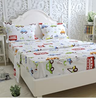 brandream kids boys cars vehicles bed sheet set cotton sheets set 4pcs queen size