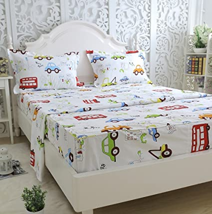 Brandream Kids Boys Cars Vehicles Bed Sheet Set Cotton Sheets Set 4pcs Queen  Size