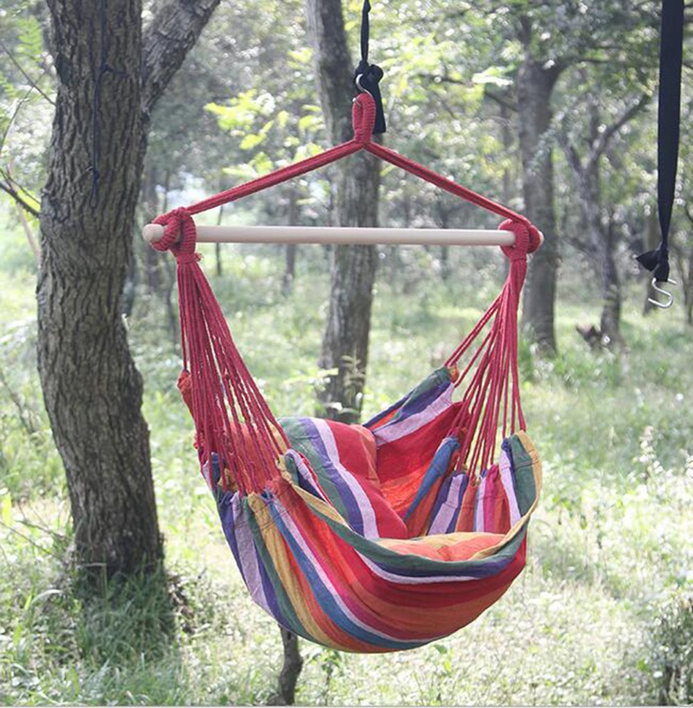 Cotton Portable Leisure Swing Chair w// 2 Seat Cushion for Indoor Outdoor Garden Yard Soft Cushioned Hammock Swing Chair Large Wide Seat Hammock Net Chair Hanging Rope Hammock Chair Porch Swing Seat