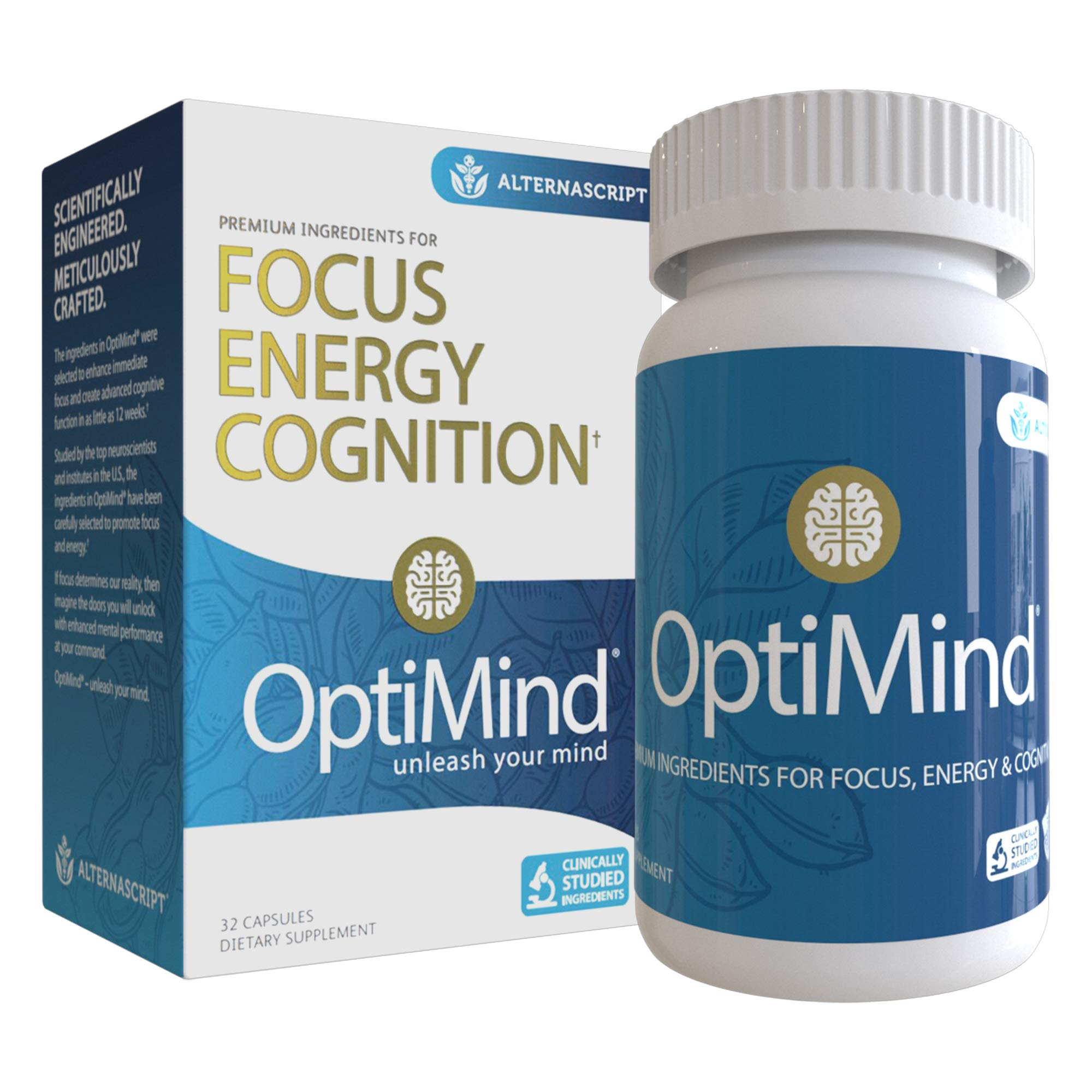 Alternascript OptiMind Nootropic Brain Supplement, Enhance Focus and Energy, As Seen on Netflix, 1-Pack (32 Ct) by Optimind