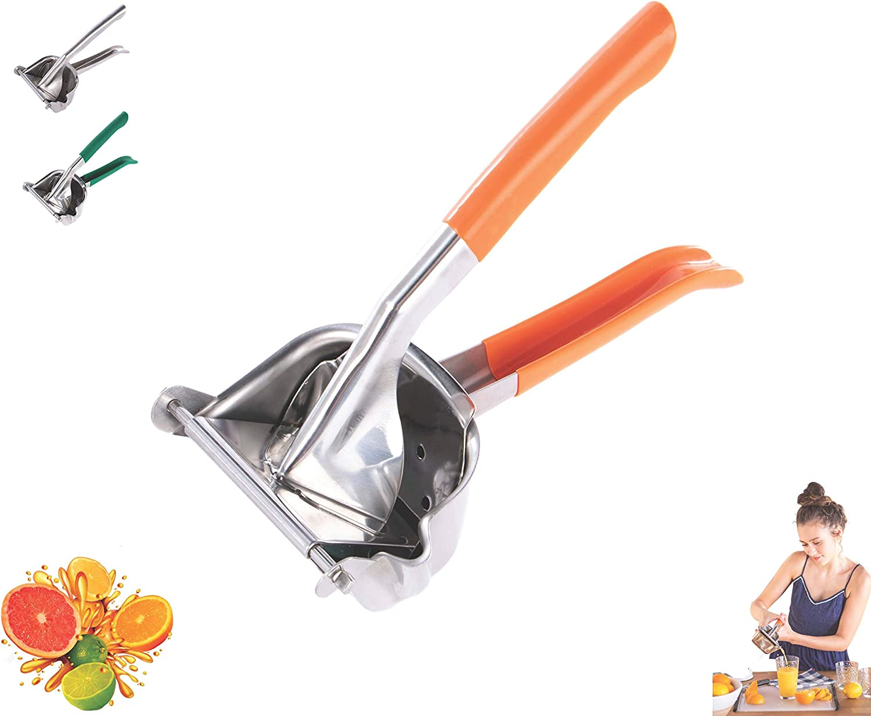 Lightweight Stainless Steel Manual Fruit Juicer Lemon Squeezer w/Rubber Handle   Citrus Lime Orange   Premium Hand Press Extractor Tool   Heavy Duty (Orange)