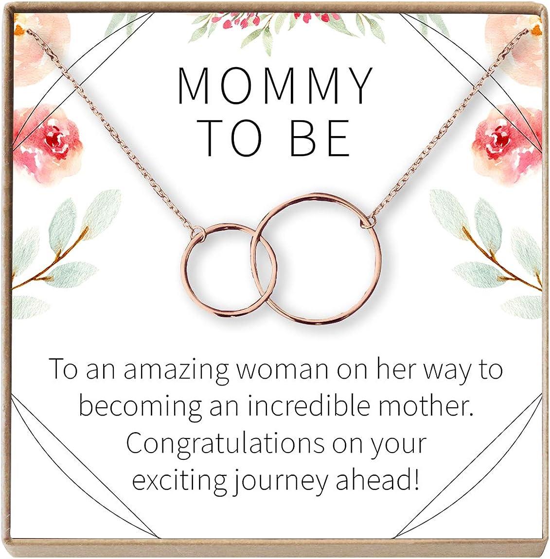 Dear Ava 妊娠ギフトネックレス 新しくママ 妊娠中の友人 2つのインターロックサークル