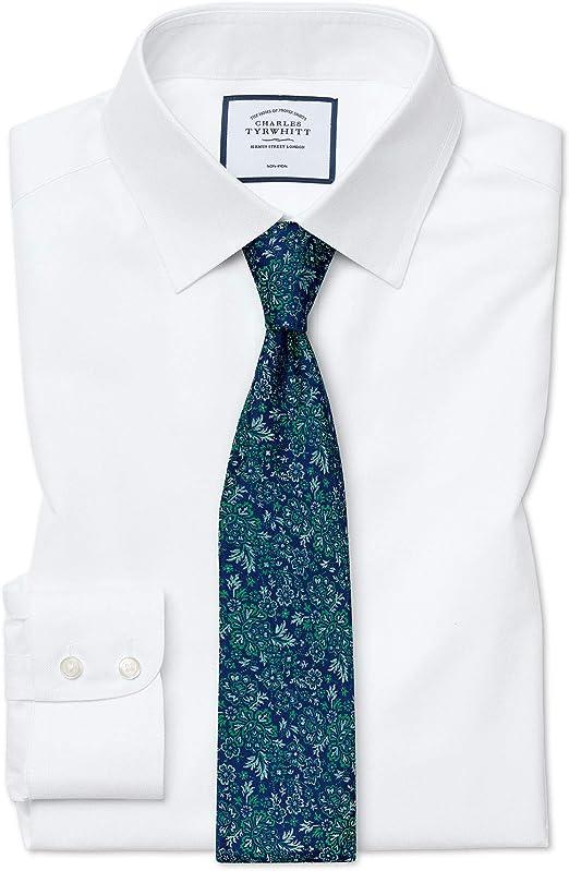 Camisa sin Plancha Blanca de Sarga Slim fit sin Plancha: Amazon.es: Ropa y accesorios