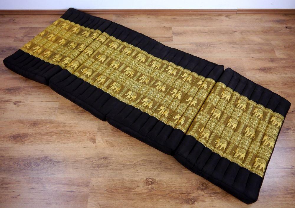 G/ästematratze Braun-Gold//Elefanten klappbare Matratze livasia/® Kapok Klappmatratzen faltbares G/ästebett asiatische Faltmatratze Klappmatratze mit Edler Seidenstickerei Entspannungsmatte