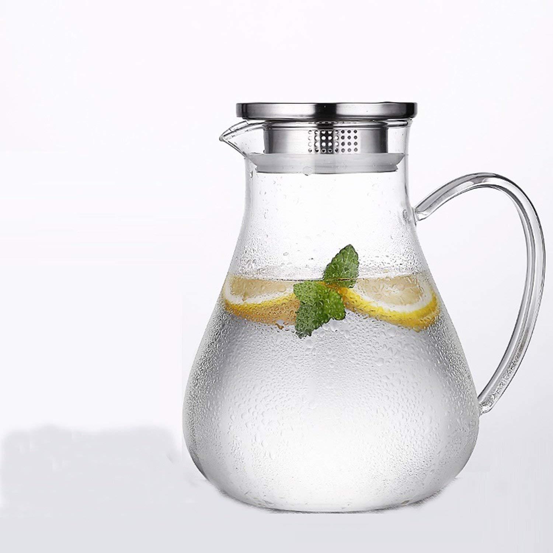 Chusea Kitchen Tea Set Porcelain Drinkware Set Saucers Cold Kettle Glass Heat Resistant High Temperature Explosion-Proof Large Capacity 1900ml Household Transparent Water Bottle