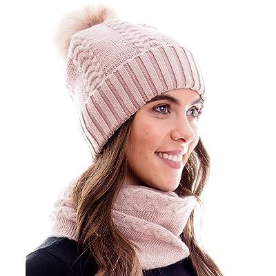 100% LANA DE ANGORA, conjunto de invierno cálido, compuesto por bufanda, gorro de lana a juego y beanie con pompón, rosa claro: Ropa y accesorios