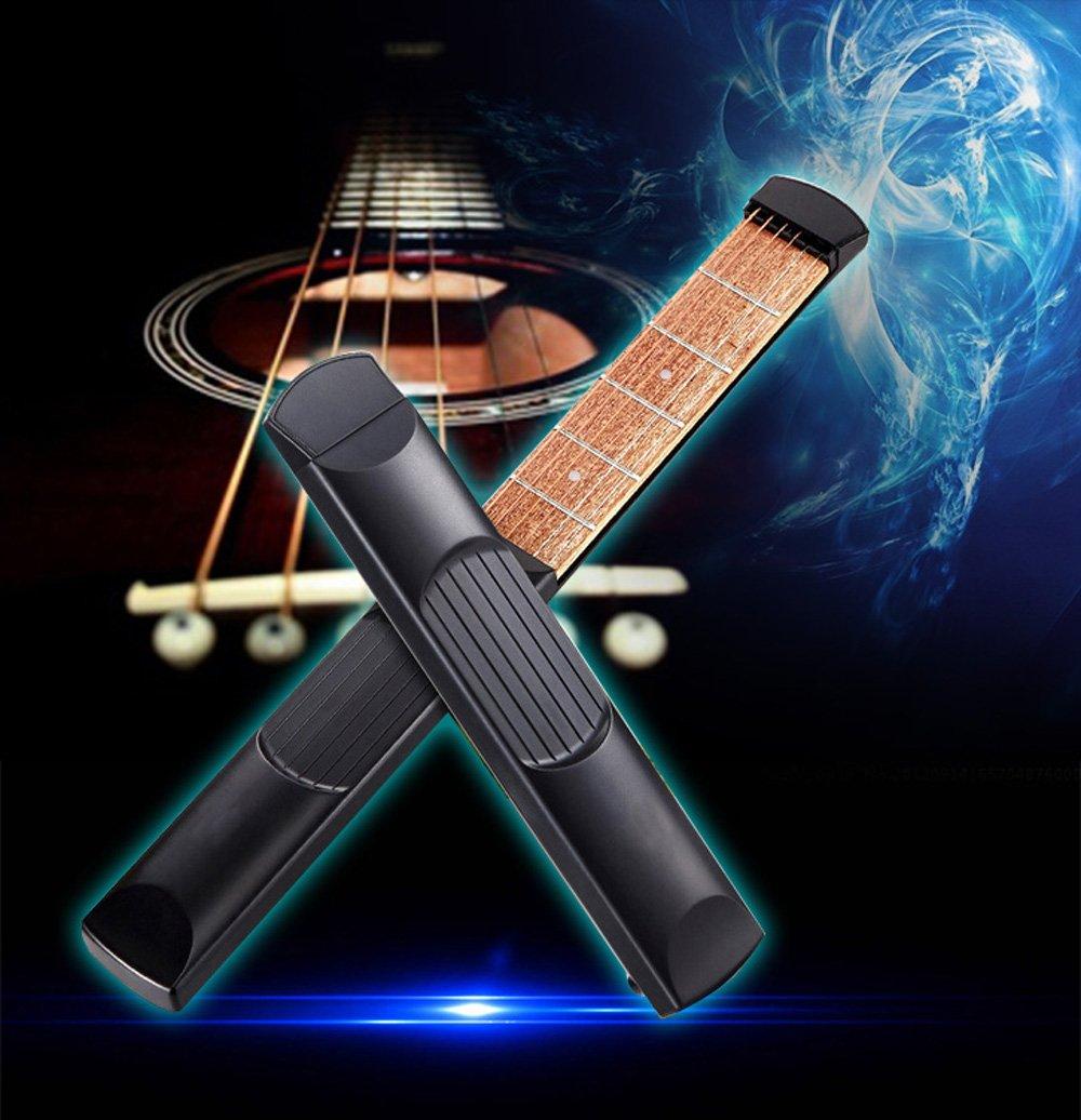 Risngmed Portable Pocket Guitar 6fret modello legno pratica strumento gadget Chord Trainer per principianti Risingmed