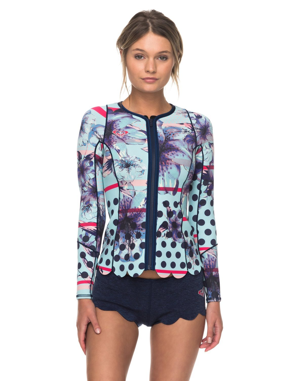 Roxy Womens 1Mm Pop Surf Front Zip Scallop Wetsuit Jacket Erjw803012