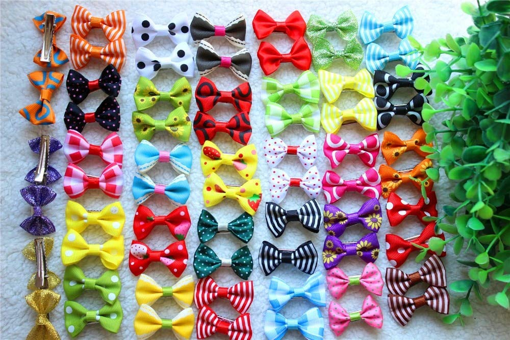 On Sale 100pcs lot Pet Dog Hair Clips Diffence Bowknote Style 4CM Mix colors Accessories Pet Grooming Products