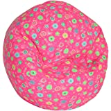 American Furniture Alliance Print Collection Jr Child Bean Bag, Pink Flower