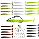 YONGZHI Fishing Lures for Bass Trout Walleye Paddle Tail Swimbaits and Lizard Lure Fishing Worms with Weighted Fishing Hooks for Freshwater and Saltwater Fishing with FREE Tackle Box