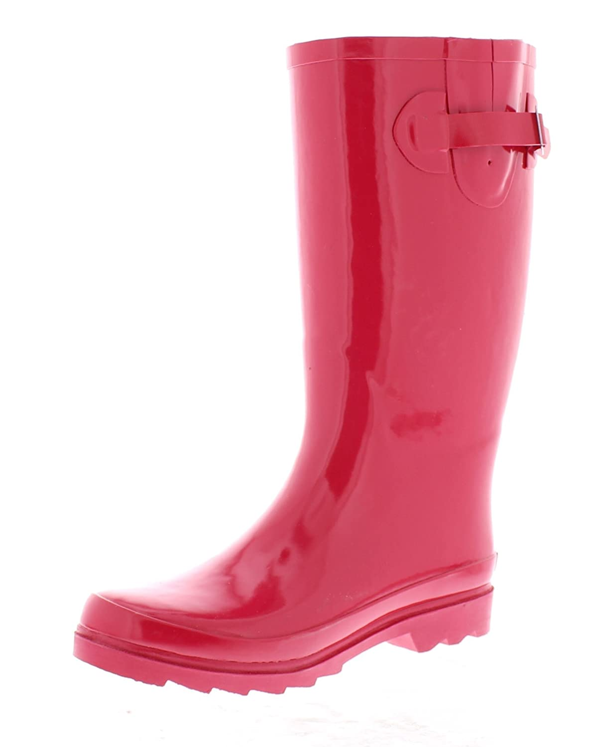 Marilyn Monroe Women's Basic Tall Buckle Rainboot Shoes, Waterproof Jelly Pull On Midcalf Welly Boots B078SLDLBJ 6 B(M) US|Red