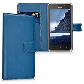 kwmobile Funda compatible con Huawei Y635 - De cuero sintético - Case con tarjetero en azul oscuro
