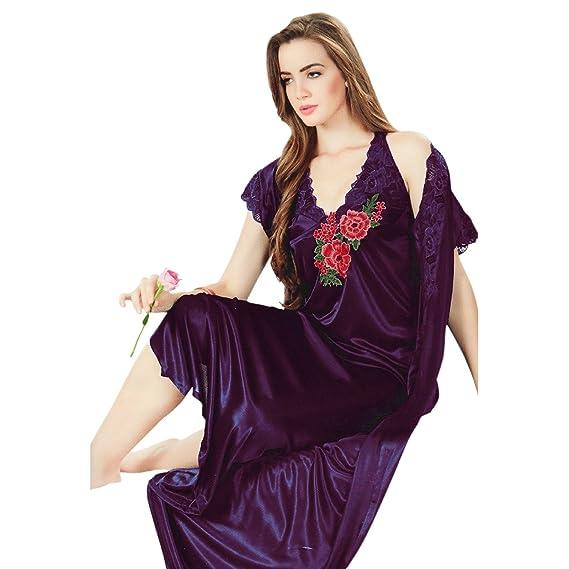 The Orange Tags Womens Long Nightdress Satin Halterneck 2 Pcs Set  Embroidery Detail-Dark Purple e9b7f04f7