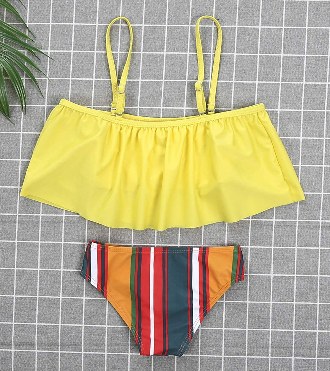 Mommy/&Me 2 Pieces Off Shoulder Bathing Suit Family Matching Spaghetti Straps Solid Yellow Tops+Striped Bottoms